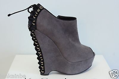b92e4d72c85 YSL Yves Saint Laurent Madge 105 Black Seppia Suede Wedge Ankle Boots 35.5  5.5