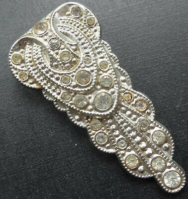 vintage art deco clear rhinestone silver tone dress clip brooch -R302