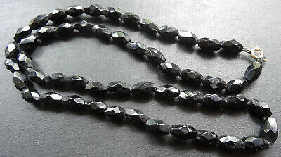 vintage art deco french jet black glass facet cut bead necklace  -R402