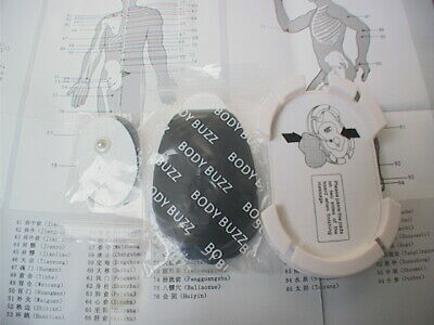 Body Buzz Digital Tens Unit, two pairs pain relief pads, holder & chart (4 Pads)