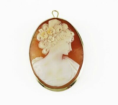Italian 14K Gold Hand Carved Natural Shell Portrait Cameo Pin/Brooch/Pendant