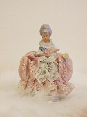 Vintage Dresden Antique Lace Doll Collectible Porcelain Figurine Western Germany