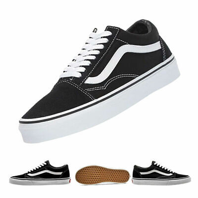 VAN Old Skool Skate Classic Canvas Sneakers Shoes All Size UK3.5-UK9 BLACK/WHITE