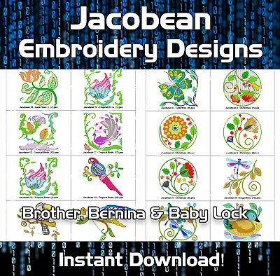 200 Jacobean Brother Machine Embroidery Designs files cards PES - Download