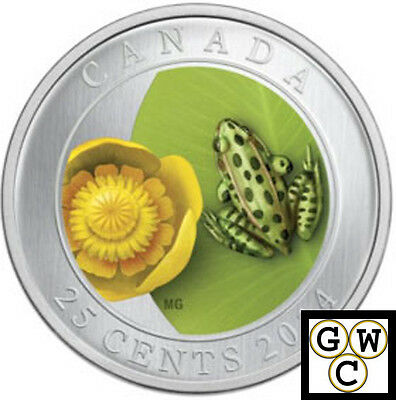 2014 'Water Lily and Leopard Frog' Colorized 25-Cent Coin (Oversized) (13875)