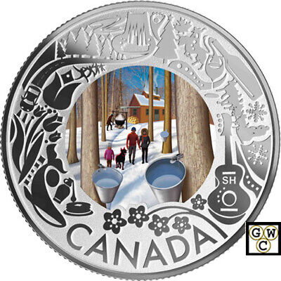 2019 'Maple Syrup Tasting' Colorized Prf $3 Silver Coin 1/4oz .9999 Fine (18708)