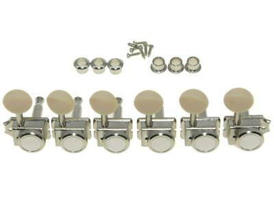 *NEW 6 In Line Locking Vintage TUNERS Tuning Pegs 14:1 Gear Ratio, Nickel+Ivory