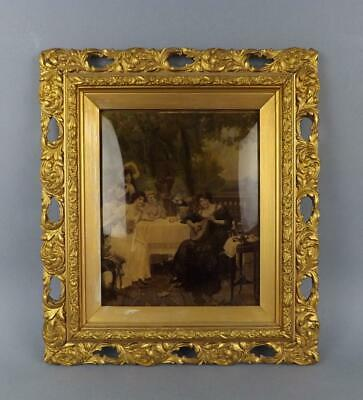 Antique Victorian Crystolean Picture of a Young Ladys in Ornate Guilded Frame