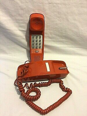 Vintage Orange Trimline Telephone Desk Top Property of Bell Systems Not Working