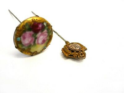 Antique Enamel on Porcelain Ladies Hat Pin/Gold Tone Ladies Hat Pin