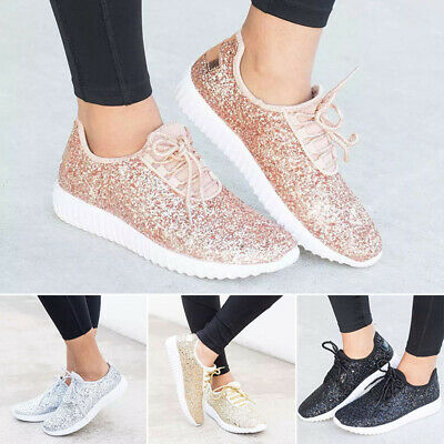 9df5bb9ff24f Women's Sequin Glitter Lace Up Tennis Shoes Fashion Sneakers Athletic Teen