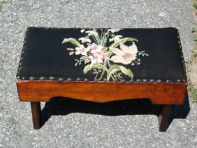 Antique Victorian Black Floral Needlepoint Slipper Bench Stool Footstool