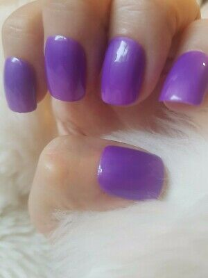 Hand Painted Purple False Nails. 20 Short Square Press-on Nails. Glossy.