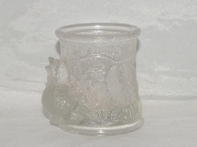 Antique Eapg Victorian Glass Novelty Stump Bird & Tree Toothpick Mustard Pot