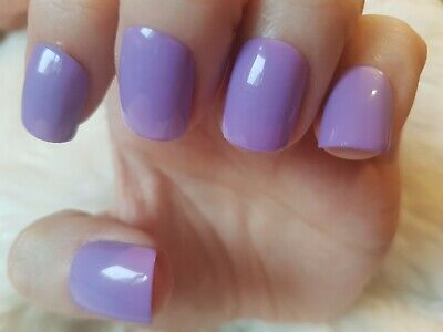 Hand Painted Violet False Nails. 20 Short Square Press-on Nails. Glossy.