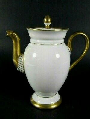Antique French LIMOGES White Gold Gilt Porcelain Teapot Empire Style c1910