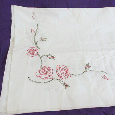 """Vtg Tablecloth Stamped for Embroidery Red Roses 50"""" x 68"""" Oblong"""
