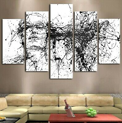 Black And White Face Modern Canvas Wall Art Home Decor Framed 5 Piece US SELLER