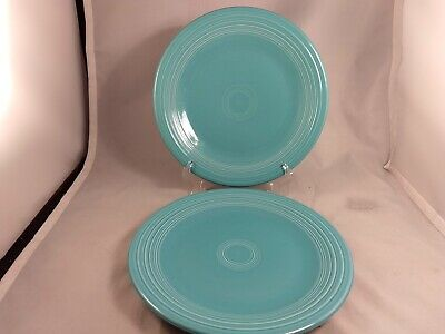 Set of 2 Homer Laughlin Fiesta Fiestaware Turquoise Dinner Plates