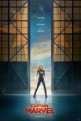 "Captain Marvel Teaser Movie Poster Canvas 20""X30"" or Glossy Photo Paper 24""X36"""