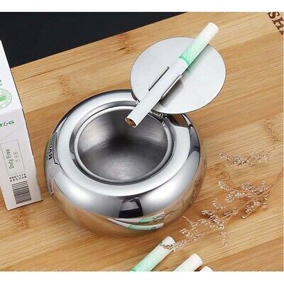 Stainless steel round ashtray car creative fashion windproof ashtray with cover