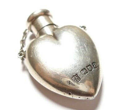 Beautiful Antique Victorian Silver Heart Shaped Scent Bottle Pendant 1896
