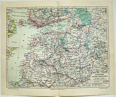 Baltic Sea Provinces of Russia - Original 1908 Map by Meyers. Antique