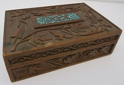 Vintage Carved Wooden Jewellery Card Box with Mosaic Top