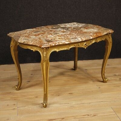 Small Table Italian Furniture Wood Golden Level Marble Living Room Antique Style