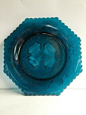Westmoreland The Wedding Day and Three Weeks After Teal Blue Pressed Glass Plate