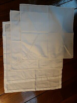Lot of 4 Cloth Napkins Dinner White 2 Embroidered 15 x 15 and 2 Plain 16.5 x 16.
