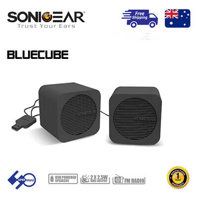 Bluetooth/3.5mm Mini Speaker Portable USB Powered FM Radio SONICGEAR BlueCube