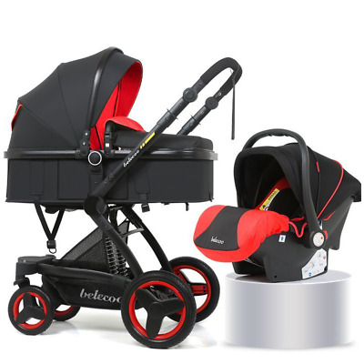 Baby Stroller Basket Sit Reclining Foldable Two-way Carrycot With Car Seat Red