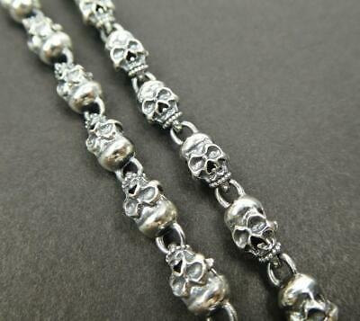 Unique Sterling Silver Linked Small Skulls Chain Men Necklace Unisex Nice Detail
