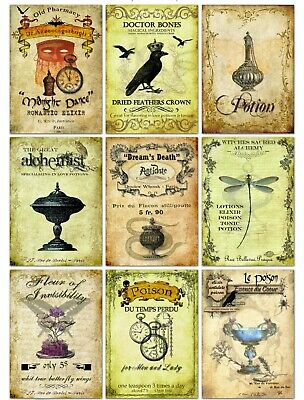 Halloween Vintage Inspired 9 Poison Potion Elixir Tonic Bottle Labels glossy