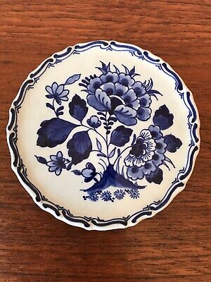 Vintage Hand Painted Blue AndWhite Dutch Delft Collectors Display Plate