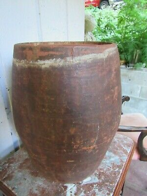 RARE Large antique Native American Pow Wow drum. hand carved wood from one log