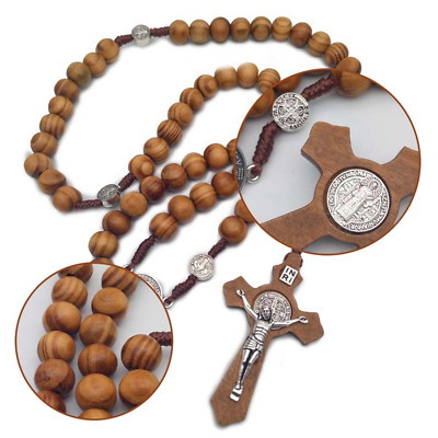 Saint St Benedict Olive Wood Beads Rosary Beaded Necklace Protection NR Medal
