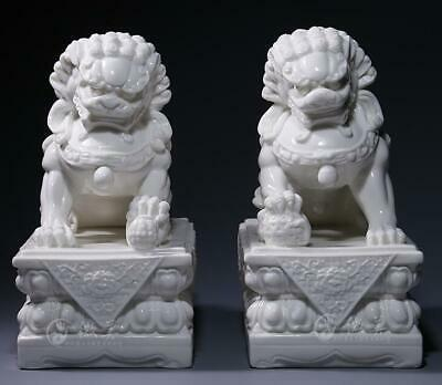China Dehua White Porcelain Fengshui Foo Fu Dog Guardion Lion Beast Statue Pair