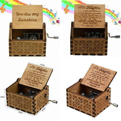 Retro Wooden Music Box Dad/Mom To Daughter -You Are My Sunshine Engraved Gift AU