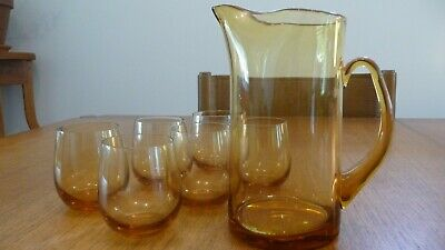 Vintage Retro amber glass cocktail or water jug & 6 glasses -excellent condition
