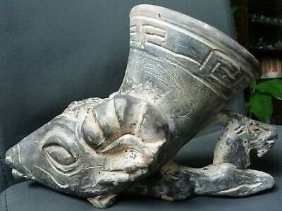 Beautiful Rare Ancient Greek Roman Terracotta Drinking Rhyton Head Ram Unique