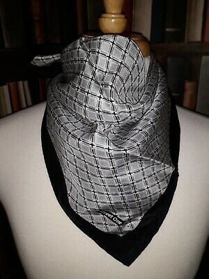 VINTAGE 100% SILK BANDANNA/SQUARE Scarf by Street One ROCK FESTIVAL SCOOTER Grey