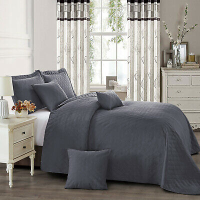 3 Piece Grey Super King Size Quilted Bedspread Throw With Pillow Sham 250X270 Cm
