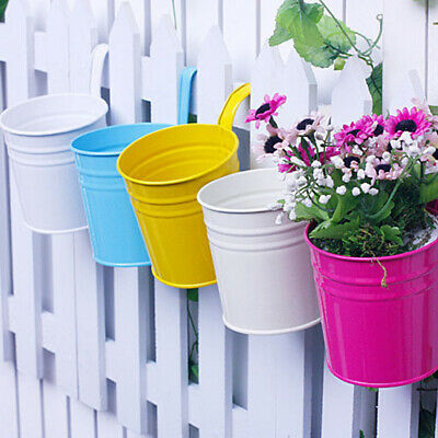 10x Metal Hanging Flower Pots Balcony Plant Garden Planter Home Wall Fence J9W8M