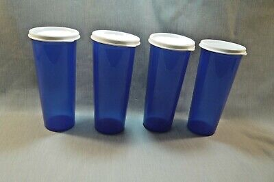 """TUPPERWARE-5107 Blue 16 oz Tumblers-set of 4 with White Seals-About 6 3/4"""" Tall"""