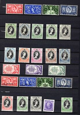 1953. QEII Coronation. Complete mostly MVLH/MLH omnibus set. 106 stamps.