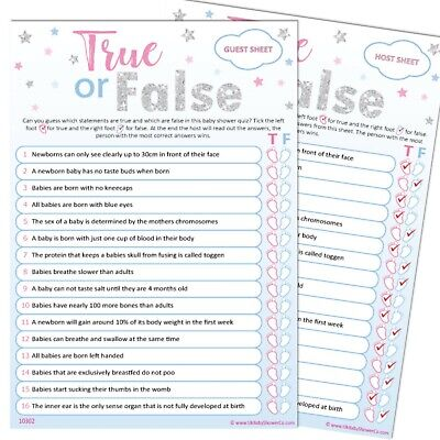 Baby Shower Game 20 Player - TRUE OR FALSE - UNISEX Stars Neutral Party Games