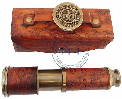 Vintage Marine High Quality Lens Spyglass Brass Telescope with Leather case Item
