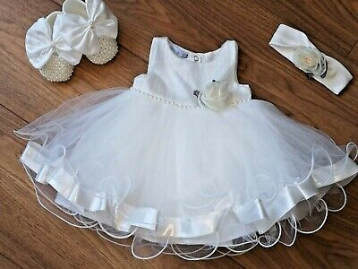 Baby Girl Stunning VISARA Diamante & Pearl Dress & Shoes Outfit £27.99